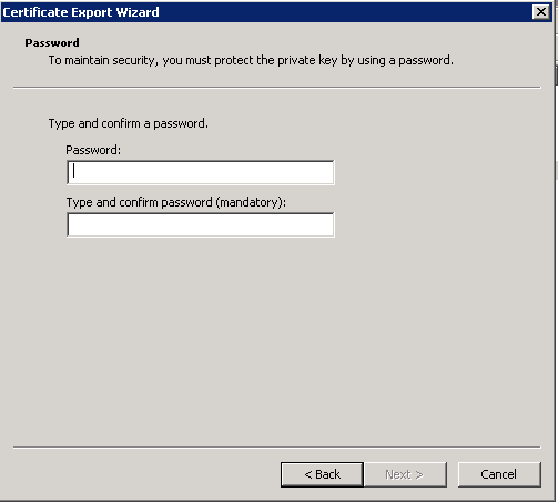 export ssl cert - password protect